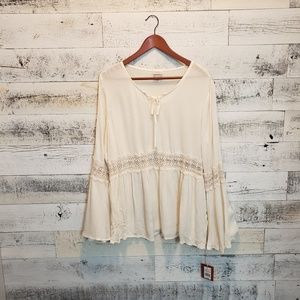 Mossimo Supply Co. Cream Blouse w/flared sleeves